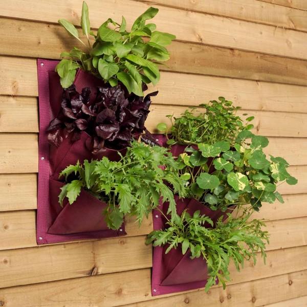 Pflanztaschen für die Wand »Aubergine« 2er Pack