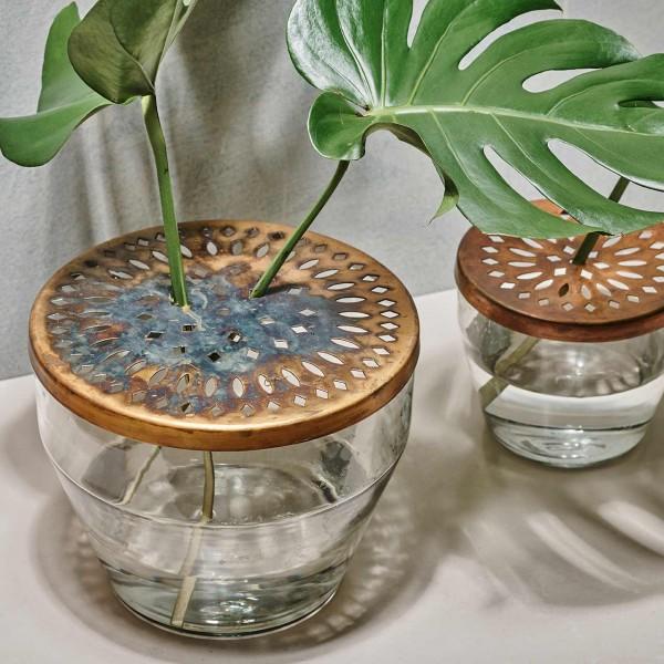Glasvase mit Steckdeckel